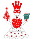 Santaclaus cartoon with gift and chrismas tree only Royalty Free Stock Photo