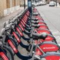 Santander cycles boris bikes in london Royalty Free Stock Photo