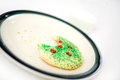 Santas christmas cookie snack missing a bite and milk left for santa claus shallow depth of field Royalty Free Stock Images