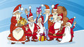 Santas group on snow Royalty Free Stock Photos