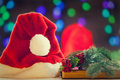 Santas hat and books Royalty Free Stock Photo