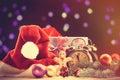 Santas hat and gifts Royalty Free Stock Photo