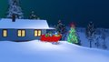 Santas house decorated for Christmas at night Royalty Free Stock Photo