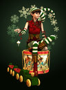 Santas Little Helper Katie, 3d CG Royalty Free Stock Photo
