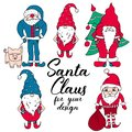 Santas in red and blue colors