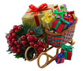Santas sledges with gifts and berries toy colorful gift boxes bunch of isolated Stock Photography
