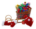 Santas sledges with gifts toy colorful red bag and furry mittens isolated Royalty Free Stock Photo
