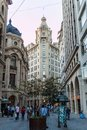 SANTIAGO, CHILE - MARCH 27, 2015: Pople walk on Nueva York street in front of Stock Exchange in Santiago, Chi Royalty Free Stock Photo