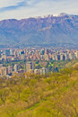 Santiago cityview from cerro san cristobal buldings can be seen in front of snowy moutains and blue sky pollution is present too Royalty Free Stock Images