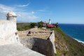Santiago de cuba view over the coast from the castillo del morro morro castle with the lighthouse in the background Stock Photos