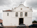 Santo antonio church lapa parana the facade of the historical with its wood windows and door and white walls brazil Royalty Free Stock Photos