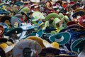 stock image of  Crowd of masked people wearing colorful charros hats at mexican carnival
