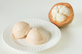 Santol sherbet ice cream with fresh santol scoop Stock Photos