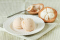 Santol sherbet ice cream scoop with fresh santol decorated Stock Images