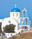 Santorini church with blue cupola pyrgos typical Stock Images
