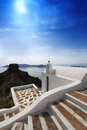 Santorini Church in Fira against sunset,Greece Royalty Free Stock Photos