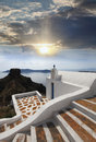 Santorini church in fira greece amazing with and sea view Stock Photo