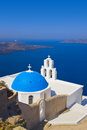 Santorini church firostefani vacation background Stock Images