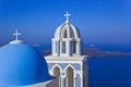 Santorini church greece firostefani vacation background Stock Photos