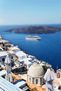 Santorini Churches in Fira, Greece Stock Images