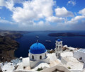 Santorini churches in fira greece amazing panorama with and sea view Stock Photography