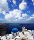 Santorini churches in fira greece amazing panorama with and sea view Royalty Free Stock Image