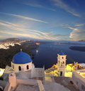 Santorini churches in fira greece amazing panorama with and sea view Royalty Free Stock Photo