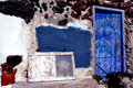 Santorini door two old in a stone wall Royalty Free Stock Image