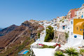 Santorini fira july fira landscape on the edge of caldera on july in fira town on santorini greece is modern capital greek aegean Royalty Free Stock Images