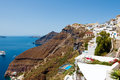 Santorini fira july fira landscape on the top of the caldera on july in fira town on santorini greece is modern capital greek Royalty Free Stock Image