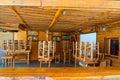 Santorini fira july wooden bar on july in fira town on the santorini island greece firá is modern capital of greek aegean Stock Photos