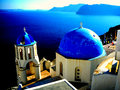 Santorini greece blue dome church in Stock Photography