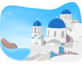 Santorini greece blue and white churches of oia village Stock Photography