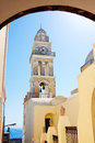 Santorini greece church towers in fira town Stock Image