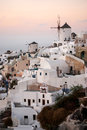Santorini greece oia famous with romantic and beautiful sunsets Stock Image