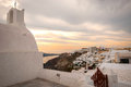 Santorini greece oia famous with romantic and beautiful sunsets Royalty Free Stock Image