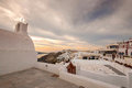 Santorini greece oia famous with romantic and beautiful sunsets Stock Photo
