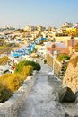 Santorini greece sunset view of fira the capital island over volcano cliffs Stock Images