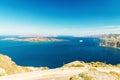 Santorini greece wonderful island aerial landscape in summer Stock Photos