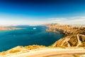 Santorini greece wonderful island aerial landscape in summer Royalty Free Stock Images