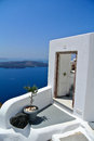 Santorini island classical greek architecture with caldera background Stock Photography