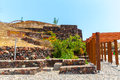 Santorini island crete greece ruins and archaeological site in fira town Royalty Free Stock Photos