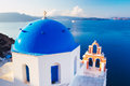 Santorini island greece church bell tower above blue sea Royalty Free Stock Photos