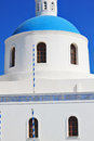 Santorini island greece a church with a blue dome Royalty Free Stock Photo