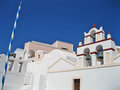 Santorini island greece a church and houses scene Stock Photography