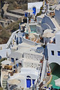 Santorini island greece pools and houses scene Stock Photo