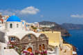 Santorini island greece view of oia village and caldera cyclades Royalty Free Stock Photos
