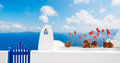 Santorini island greece white architecture and blue ocean Royalty Free Stock Photos