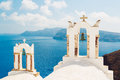 Santorini island greece white architecture and blue ocean Royalty Free Stock Images