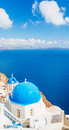 Santorini island greece white architecture and blue ocean view of caldera with domes Stock Image